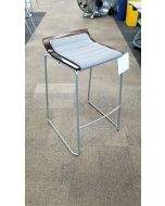 Pre-owned Allsteel Take-5 stool has mahogany plywood shell grey fabric seat cushion and  silver base.
