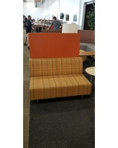 Pre-owned Steelcase Coalesse Bix lounge chair has orange plaid upholstered seat, metallic silver base and an orange screen.