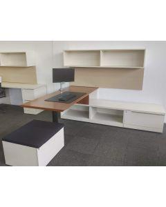 Steelcase L-Shaped Desk (Mahogany/White) RH