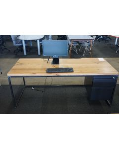 6' Custom Industrial Table Desk (Walnut Plank) RH