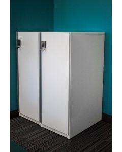 Pre-owned Lacasse single-tier locker has white laminate finish and Digilock combination keypad.