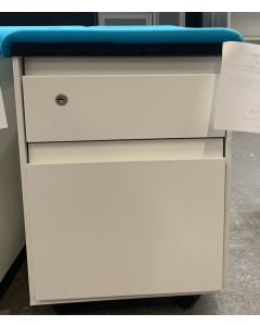 Steelcase Mobile Box/File Pedestal w/ Cushion Top (White/Blue)