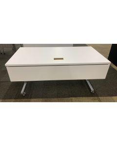 5' Teknion Rectangular Flip-Top Mobile Training Table (White Laminate)