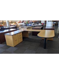 National Bullet-Top U-Shaped Desk (Maple) LH
