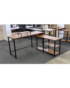 Gelibo L-Shaped Desk (Rustic Brown)