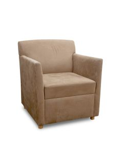 Pre-owned Martin Brattrud lounge chair has brown suede upholstery with (4) maple feet.
