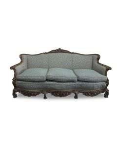 Emerald Patterned Rococo Three-Seat Sofa