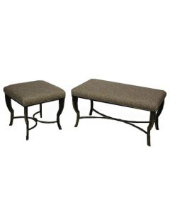 Cushion Top Bench Pair (Chartreuse Patterned)