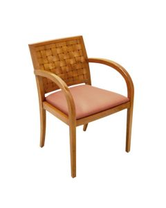 Pre-owned Geiger Woven wood side  chair w/ cherry frame and rose patterned upholstery