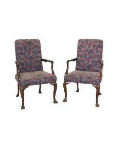 Pair of Vintage Queen Anne armchair, w/ walnut frame, cabriole legs, and red/violet floral upholstery.
