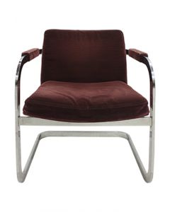 "Front view of Pre-owned Elite side chair with flat chrome frame/ sled base and plum velvet upholstery fabric.  Dimensions: 22""D x 23""W x 29""H. *Wear from use on the upholstery*"