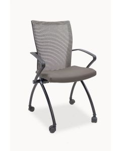 Pre-owned Haworth X99 nesting chair has a Gas (1X-4) seat, Beach mesh back, black fixed avian arms and (4) post legs with casters.
