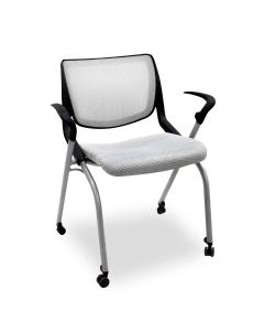 Pre-owned HON Motivate nesting chair has light grey mesh back, light grey stitch upholstered seat. Features metallic silver frame on caster with black avian arms.