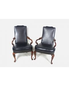 High-Back Armchair Pair (Navy Leather)