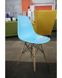 New Quintus Dining Chair by Langley Street. Poly seat, wood legs. Finish: Aqua/Natural wood legs