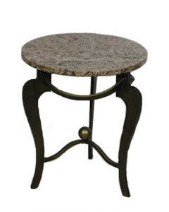 "18"" Pink Granite Round Side Table"