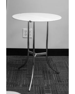 "Pre-owned Cedric Hartman round side table has white marble surface and a nickel plated base with (3) curved legs. Dimensions: 17"" in diameter."