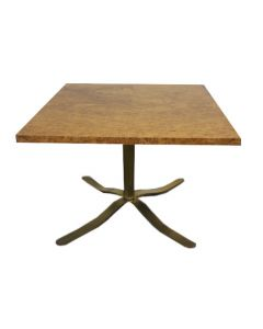 3.5' Zographos Base Burl Wood Square Side Table