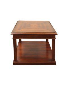 "27"" Mahogany Veneer Two-Tier Square Side Table"